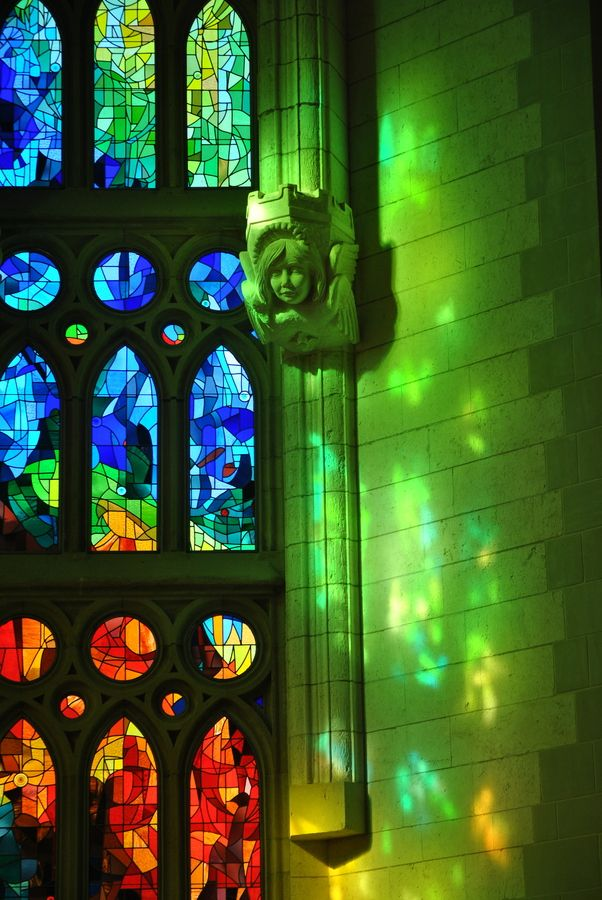 Forest lights - Windows at Sagrada Familia (Gaudi), Barcelona, Catalonia