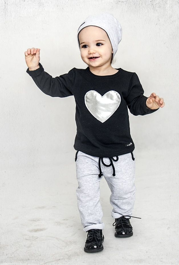 Children's clothing – Bright grey sweatpants with quilted pockets – a unique product by mamatu via en.DaWanda.com