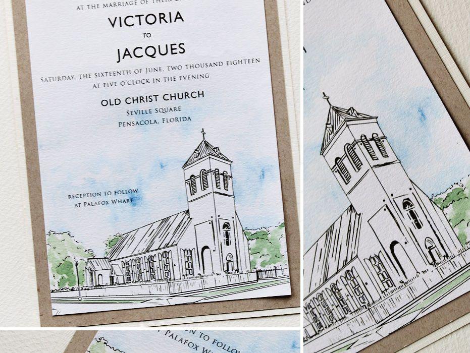 Custom Church Illustration Wedding Invitation Illustrated