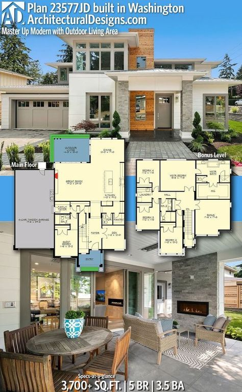 Our friends in Washington built Architectural Designs Home Plan 23577JD! It gives you 5 bedrooms, 3.5 baths and 3,700+ sq. ft. Ready when you are! Where do YOU want to build? #23577JD #adhouseplans #architecturaldesigns #houseplans #architecture #newhome #newconstruction #newhouse #countryliving #homeplans #modern #washington #architecture #home #homesweethome