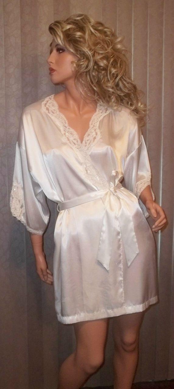 1980S White Liquid Satin Vintage Teddy Baby Doll L Peignoir Lingerie Movie Star Set sz S