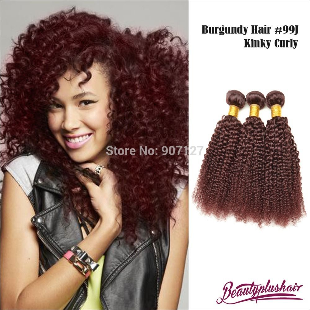 6a Red Brazilian Remy Hair 99j Kinky Curly Hair Extensions 3 Pcslot