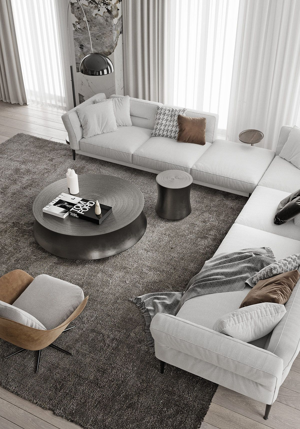 Magnificent Modern Marble Interior With Metallic Accents Magnificent Modern Marble Interior With In 2020 Luxury Dining Room Marble Interior Modern White Living Room Metallic living room decor