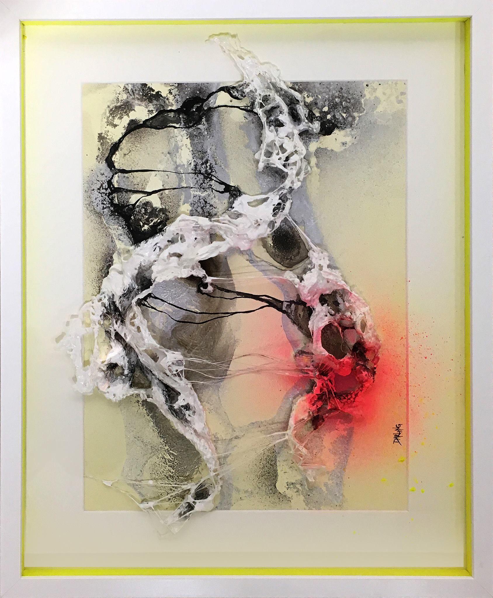 cf35a972 Stort abstrakt maleri til salg i gul og pink farver. Moderne farverigt  maleri af Rikke