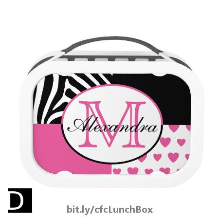 70267f796763 Pink Hearts and Black Zebra Stripes Monogram Lunch Box