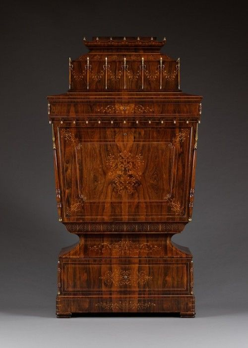 9924 – A ROSEWOOD, BOXWOOD INLAID AND GILT-BRONZE MOUNTED SECRETAIRE OF LYRA FORM IN THE EXOTISME TASTE   Carlton Hobbs New York