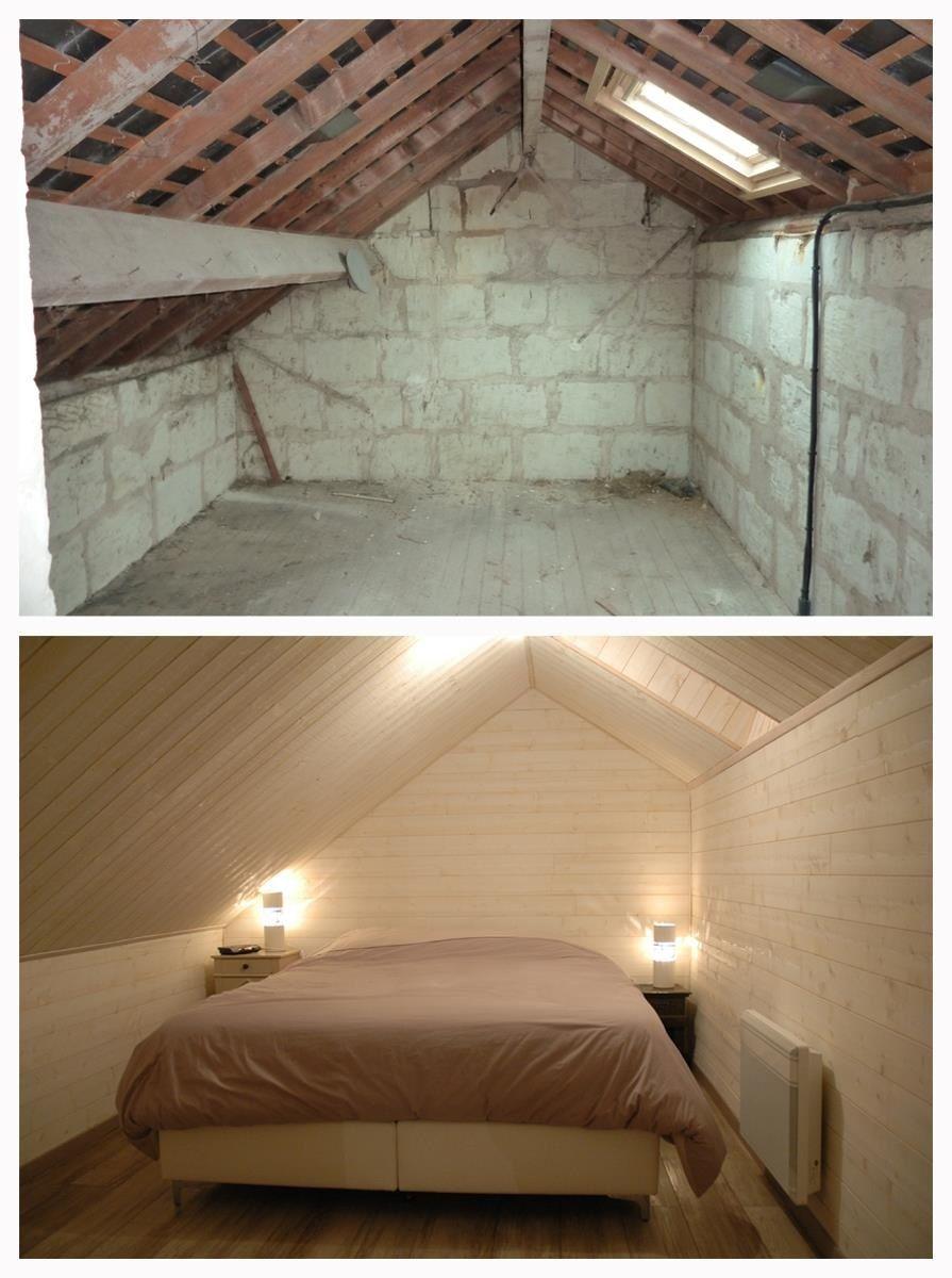 Combles ammenags en chambre Mur et plafond en lambris et sol en parquet stratifi  Dco