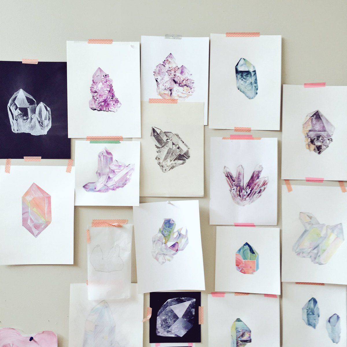 Gems, Crystals & Mineral Drawings and Paintings Johanna Martin