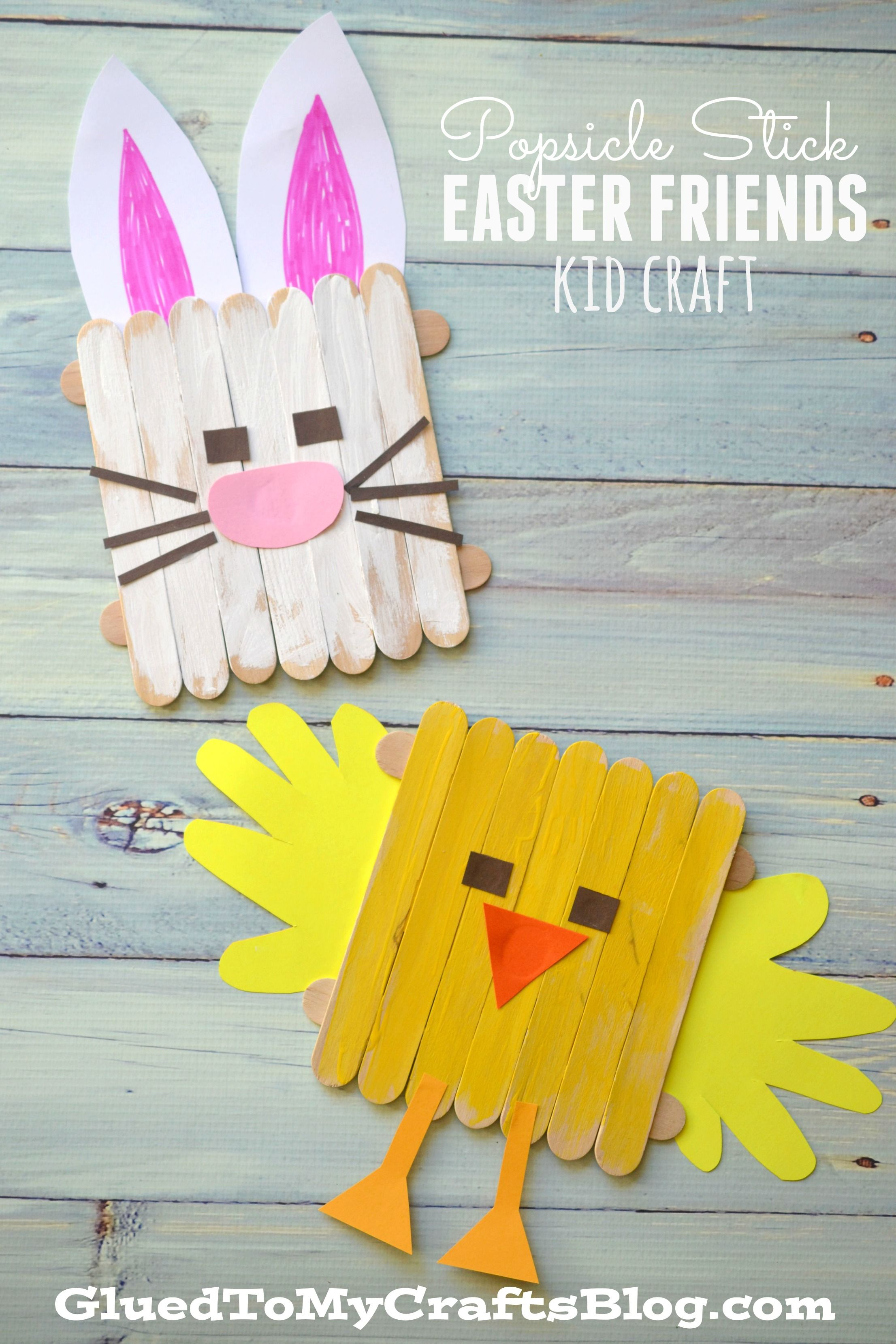 Arts and crafts sticks - Popsicle Stick Easter Friends Kid Craft