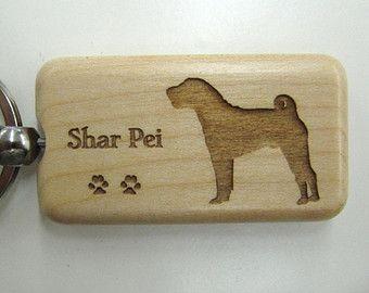 Chinese Shar Pei Holz Schlusselanhanger Anpassbar Sharpei Dog Doggie Dog