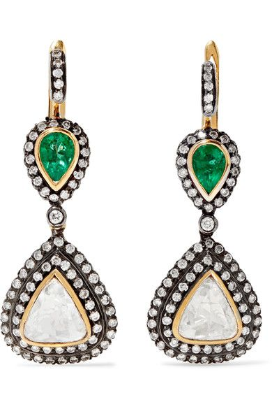 18-karat White Gold, Sterling Silver, Diamond And Emerald Earrings - one size Amrapali