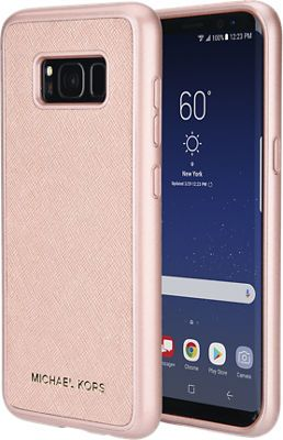 845acdbf6085 Michael Kors Saffiano Phone Cover without Pocket for Galaxy S8, Rose-Gold