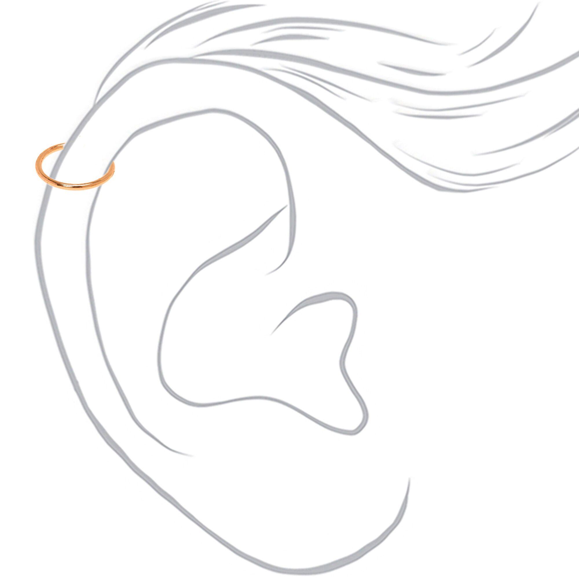 Rose Gold Crystal Faux Cartilage Hoop Earrings Black 3 Pack Anime Earrings Rose Gold Crystal Cartilage Earrings Hoop