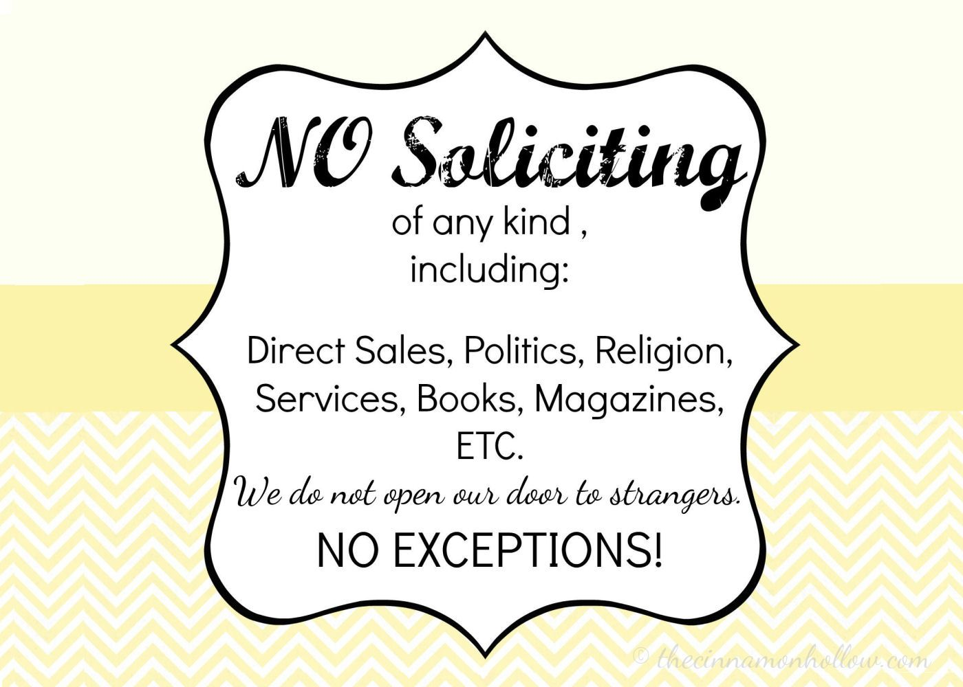 It is a picture of Tactueux Free Printable No Soliciting Sign