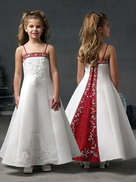 This is the girls' flower girl dresses.  They are white instead of ivory, but... that's ok! :)