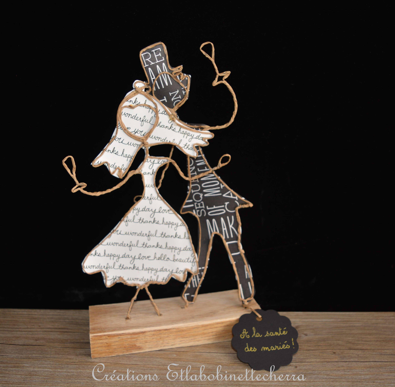 personnages ficelle arm e cadeau pour jeunes mari s d coration mariage sculpture fil de fer. Black Bedroom Furniture Sets. Home Design Ideas