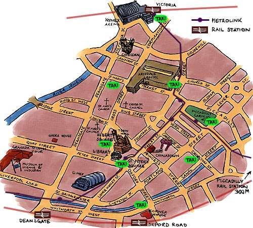 cool Manchester Map Tourist Attractions Travelquaz Pinterest City