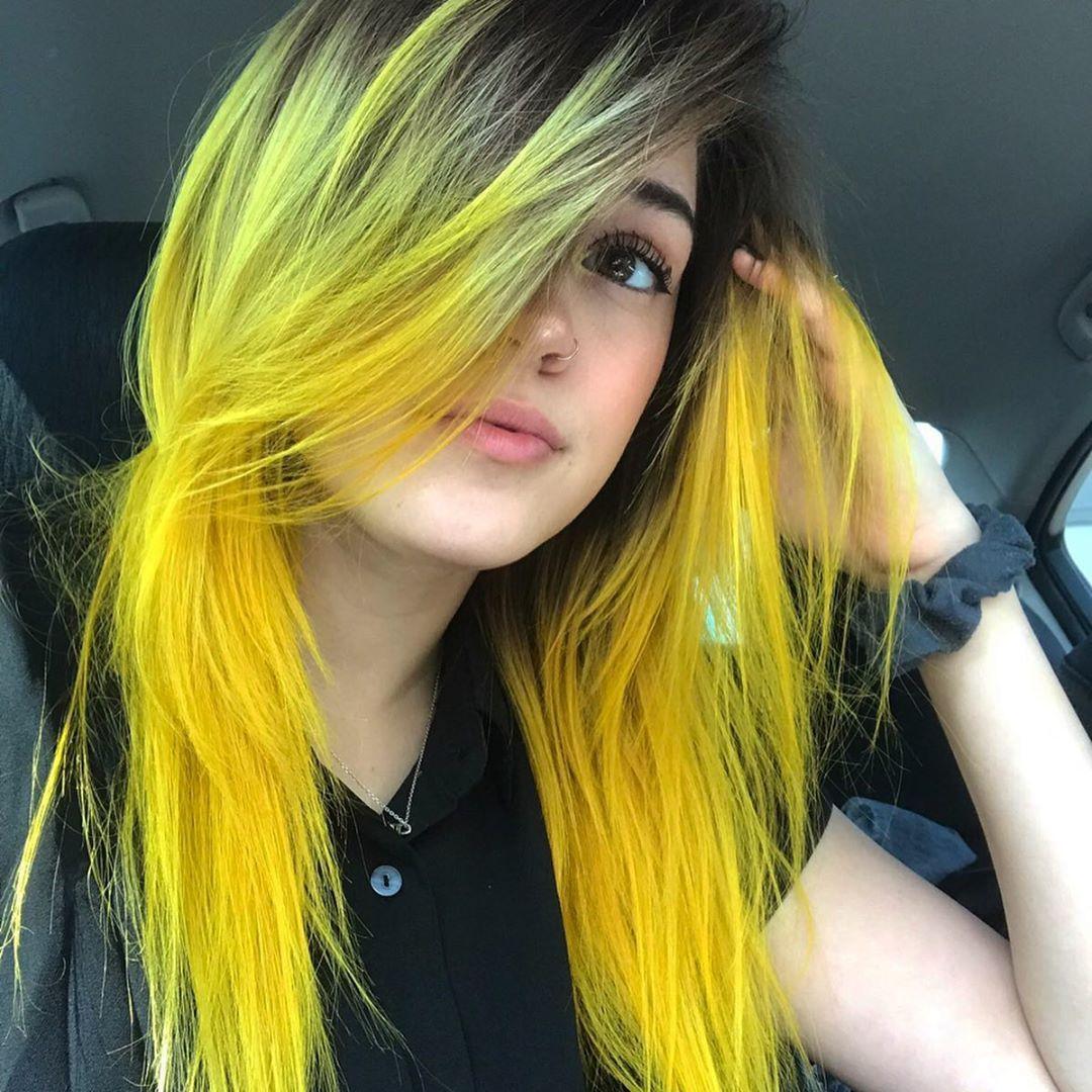 Arctic Fox Hair Color Emilykate013 Ive Got Sunshine On A Cloudyyy Dayyy Arcticfoxhaircolor Yellowhair Hair Styles Long Thin Hair Thick Hair Styles