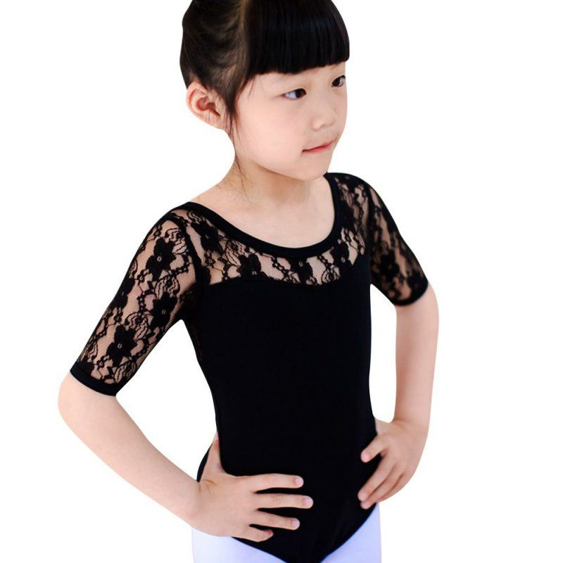 b1501109c838 Kids Bodysuit Girls Ballet Dance Short Sleeve Clothes Dancewear ...