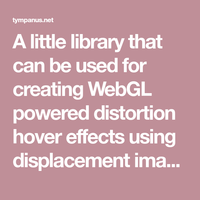 A little library that can be used for creating WebGL powered