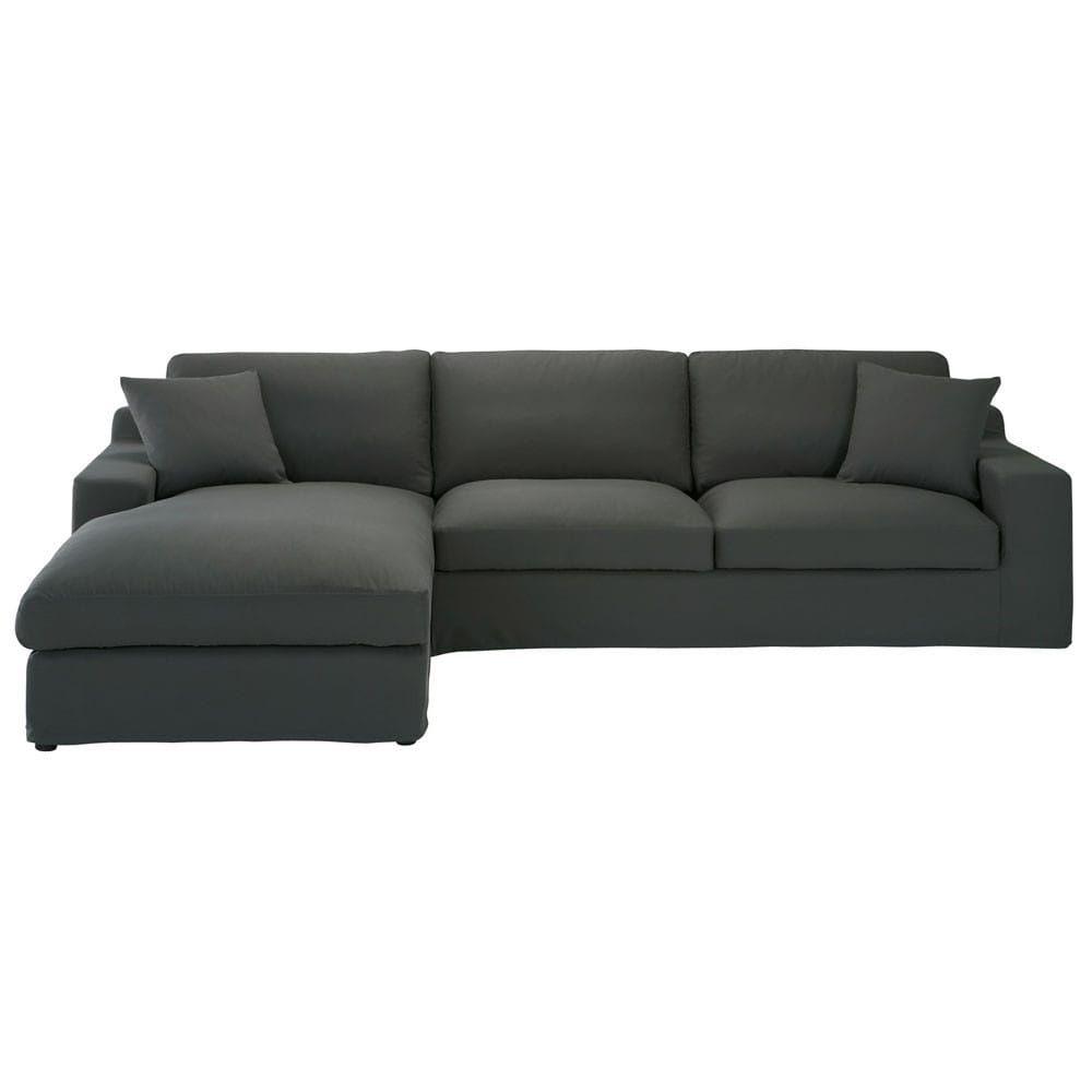 ecksofa 5 sitzer mit ecke links aus baumwolle schiefergrau living room pinterest ecksofa. Black Bedroom Furniture Sets. Home Design Ideas