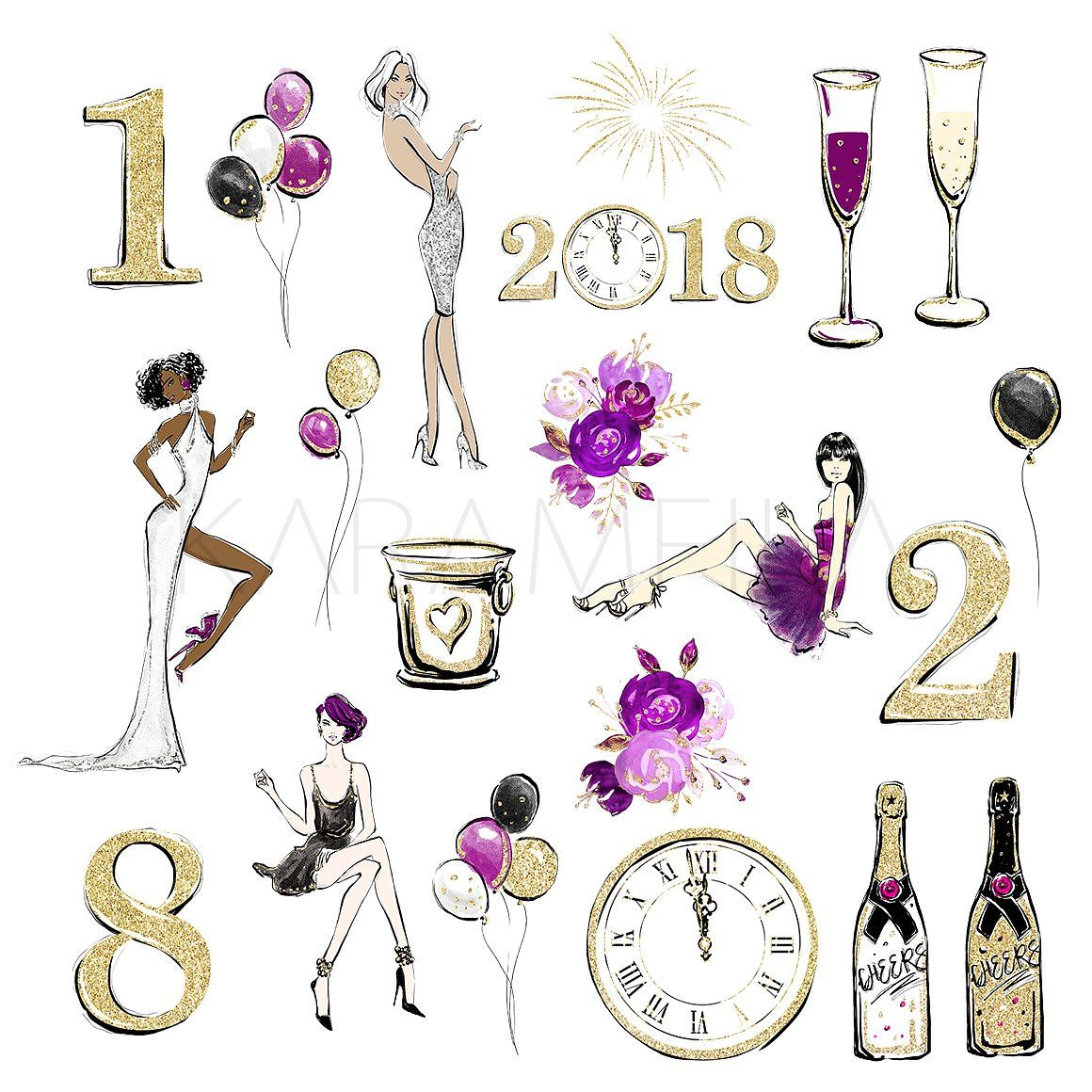 New Year Party Clipart Party planners logo, Happy
