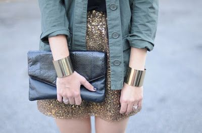 Sequin skirt and military jackets. Unexpected combo but the outcome is so chic.