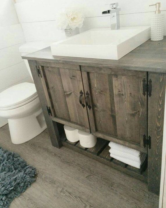 Rustic Custom Vanity Bathroom Powder Room Sherlock Etsy Bathroom Vanity Remodel Custom Bathroom Vanity Rustic Bathroom Vanities