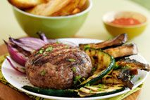 Beef and dill burgers with chips
