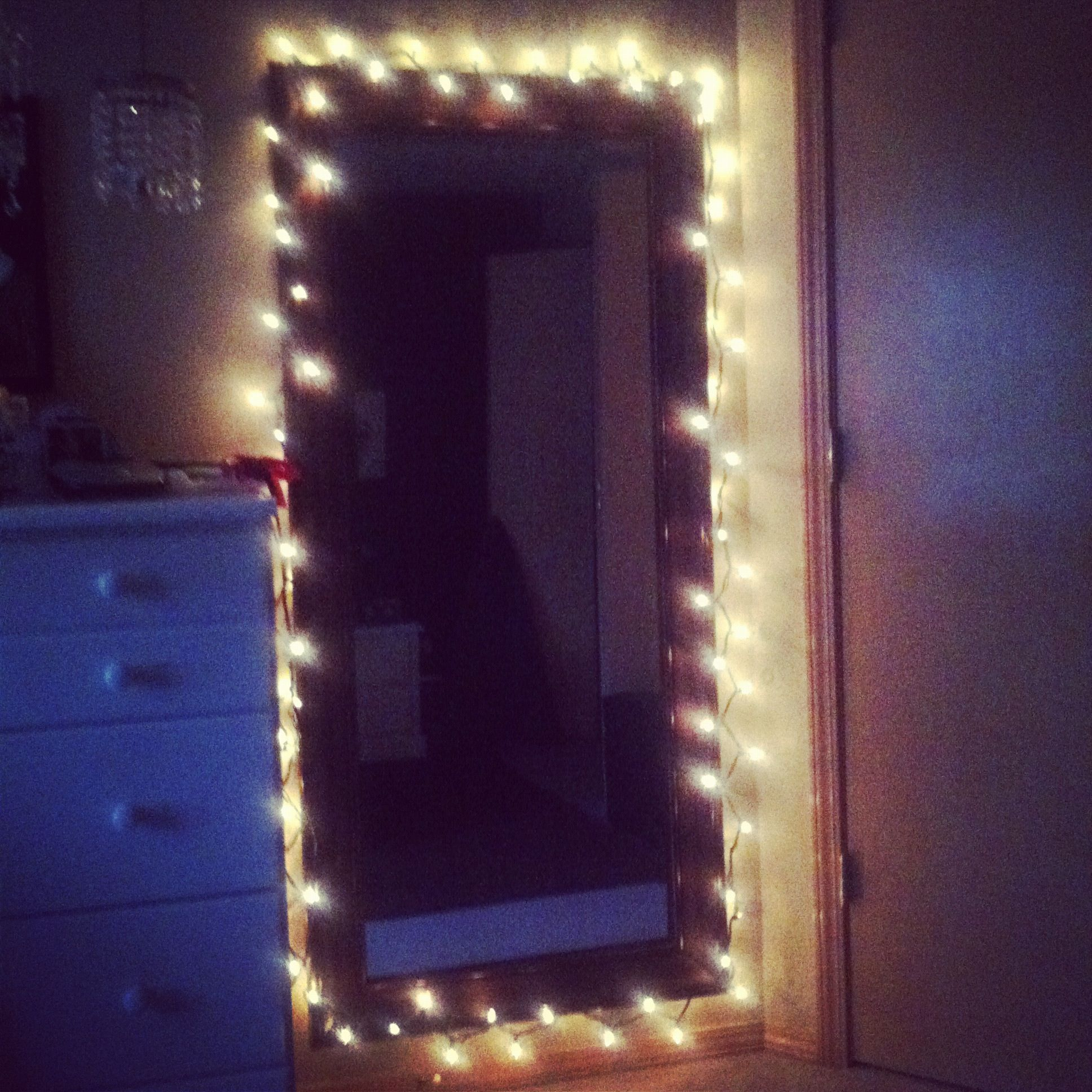 Put Simple White Christmas Lights Around My Mirror.. Gives