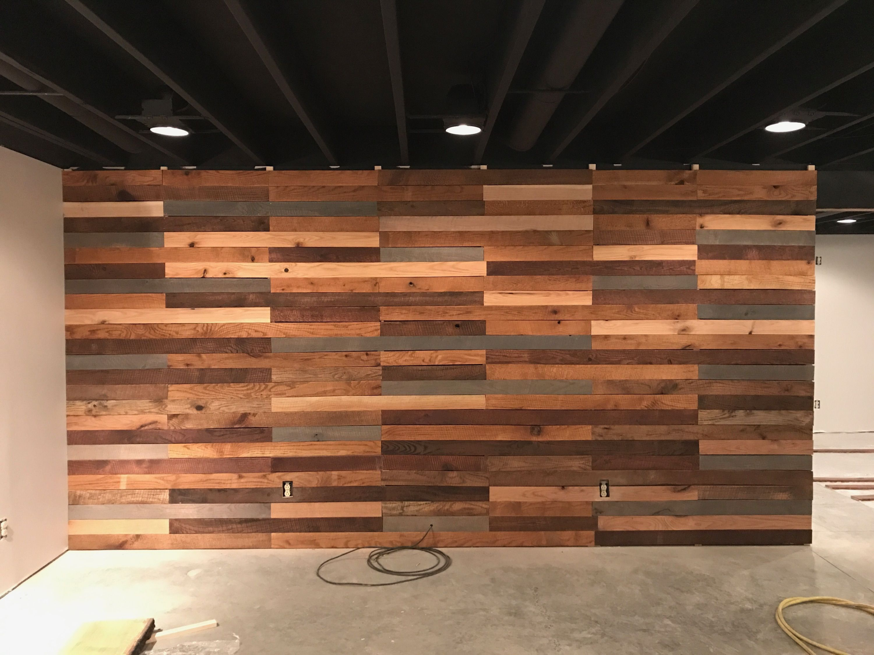 Basement Wall All Boards Are Hand Rubbed Stained Rough