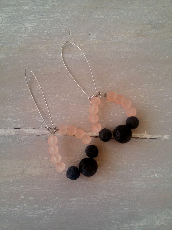 NEW ORLEANS earrings.  black lava and peach beads earrings. chandelier earrings by MerakibyStevie on Etsy