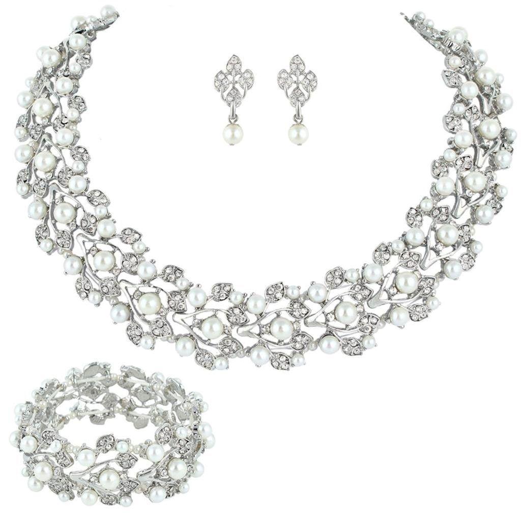 EVER FAITH Wedding Leaf Vine Necklace Earrings Set Clear Austrian Crystal dREgkvZ