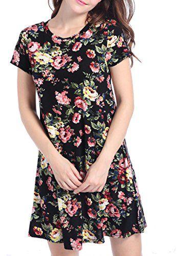 1b2a01723a4e Gemijack Women's Short Sleeve Floral Print Tunic Casual Loose O Neck T-Shirt  Mini Dress