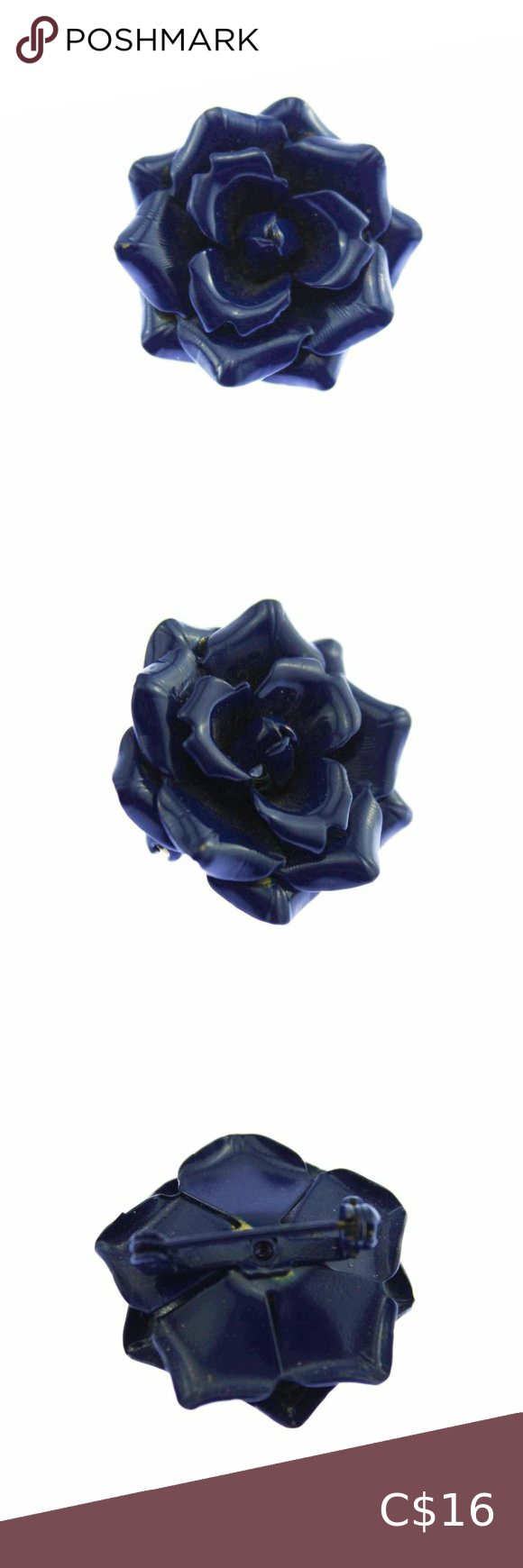 Vintage Blue Enamel Rose Brooch Vintage Brooch Jewelry Enamel Flower Brooch