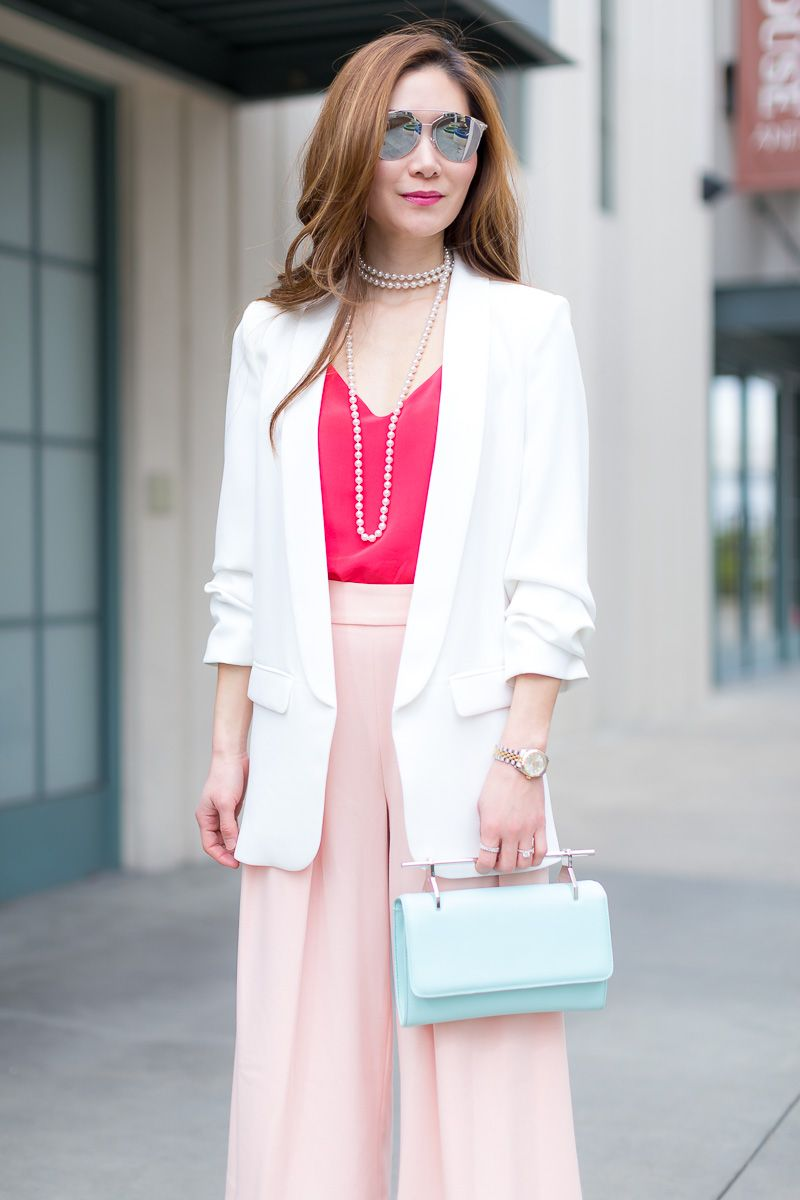 Outfit Ideas, Style Inspiration, Spring Fashion, Dior Reflected Sunglasses, M2Malletier Fabricca Clutch, Culottes