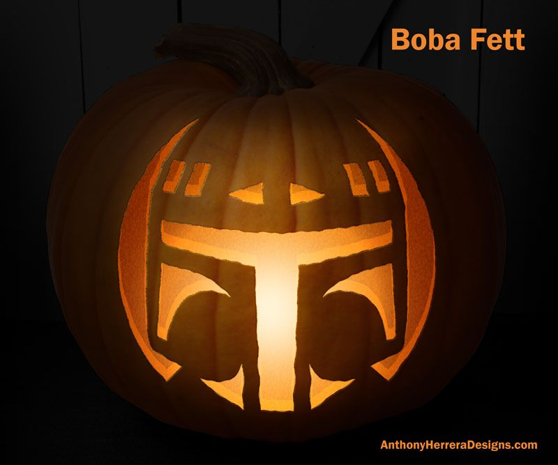 Print And Carve Out Star Wars Pumpkins Boba Fett Star Wars