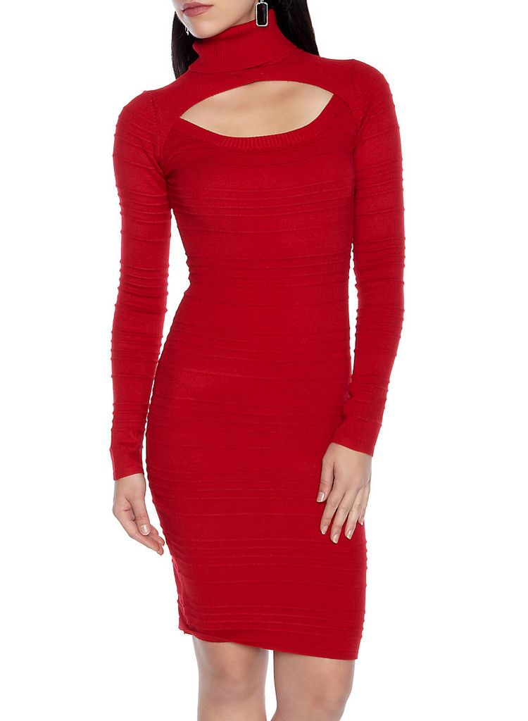 Cutout Neckline Sweater Dress in 4 Colors – KikiCloset  $39.95