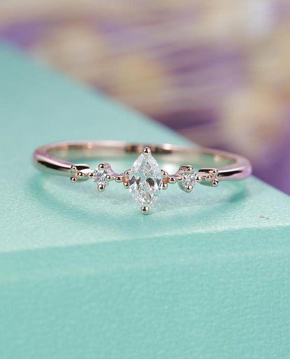 Femmes or rose bague de fiançailles, Pierre de lune London Blue Topaz Opal Marquise coupe diamant mariage bijoux anniversaire cadeaux pour elle en forme de poire