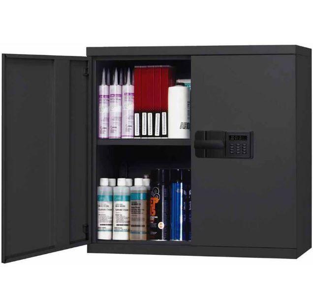 Storage Cabinets With Locks Bathroom Wall Mount Black Steel Electronic Sandusky