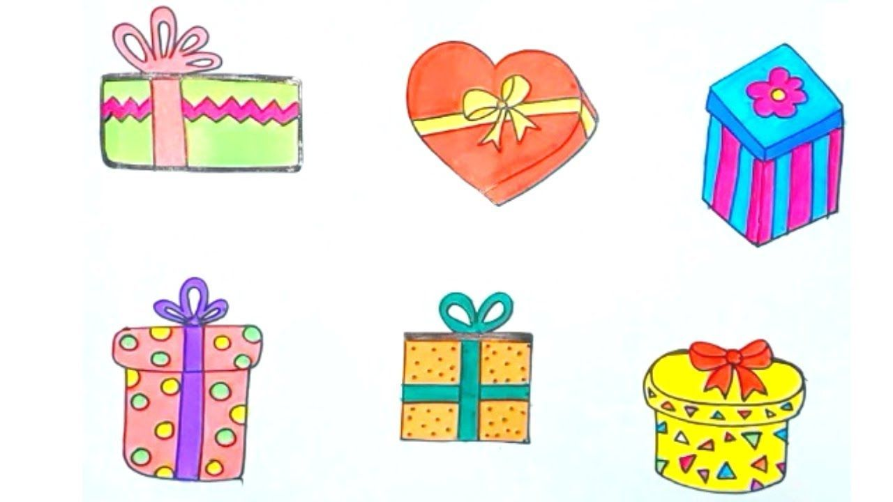 Christmas Gift Box Drawing.How To Draw A Gift Box Easily Six Different Gift Boxes