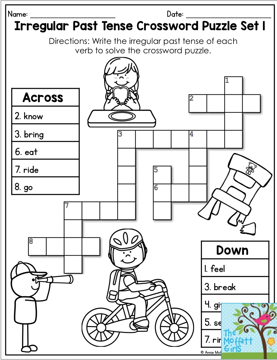 Verb Tenses NO PREP Packet   Word puzzles for kids [ 1148 x 886 Pixel ]