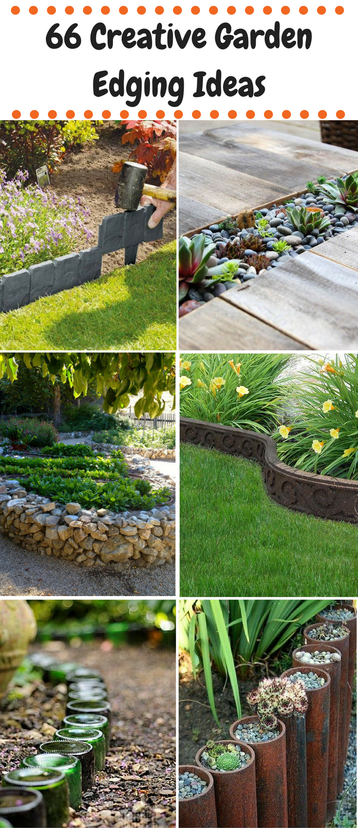 66 Creative Garden Edging Ideas - using rocks, hoses, wine bottles ...