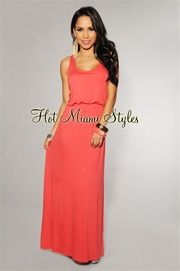 Love love this site. seriously the best cheap clothes. Coral Racer-Back Maxi Dress