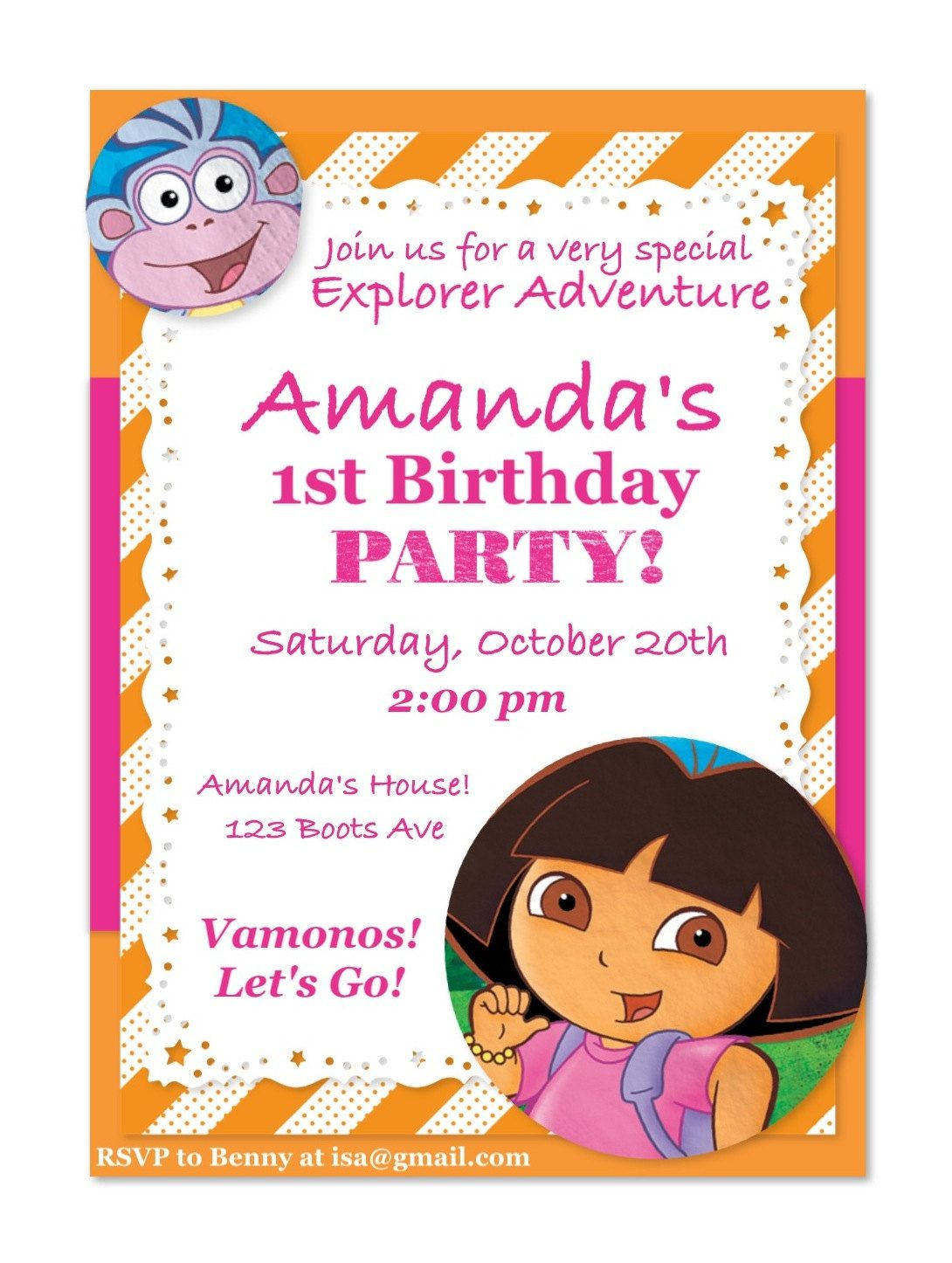 Dora And Boots Birthday Invitation. $5.00, Via Etsy.