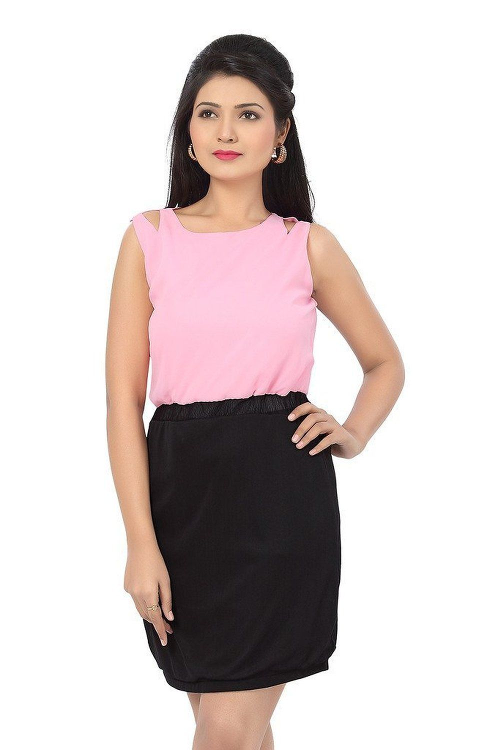 767c11b75003d3 Ishin Georgette Pink and Black Pencil Dress: Amazon.in: Clothing &  Accessories