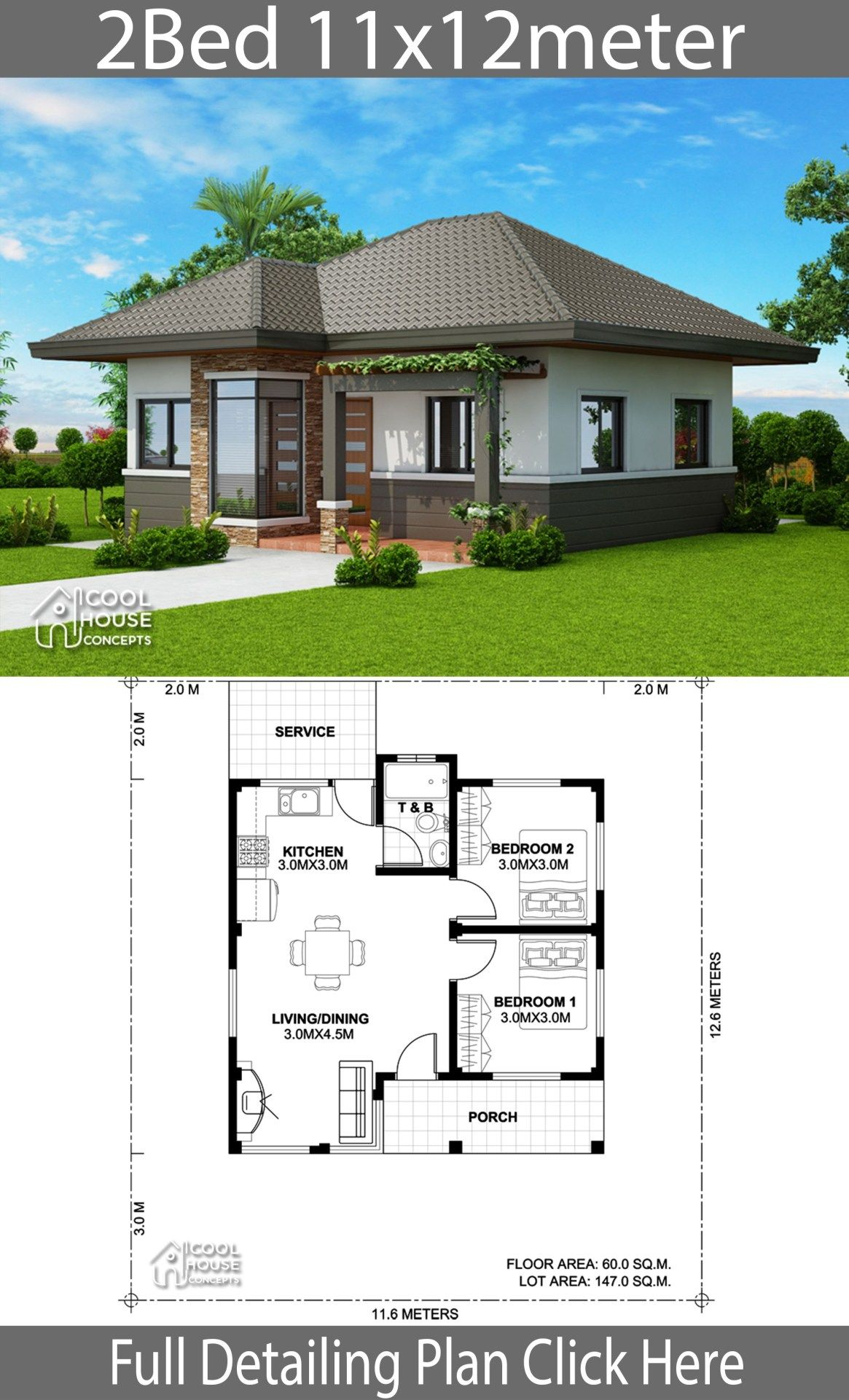 Home Design Plan 11x12m With 2 Bedrooms With Images Modern