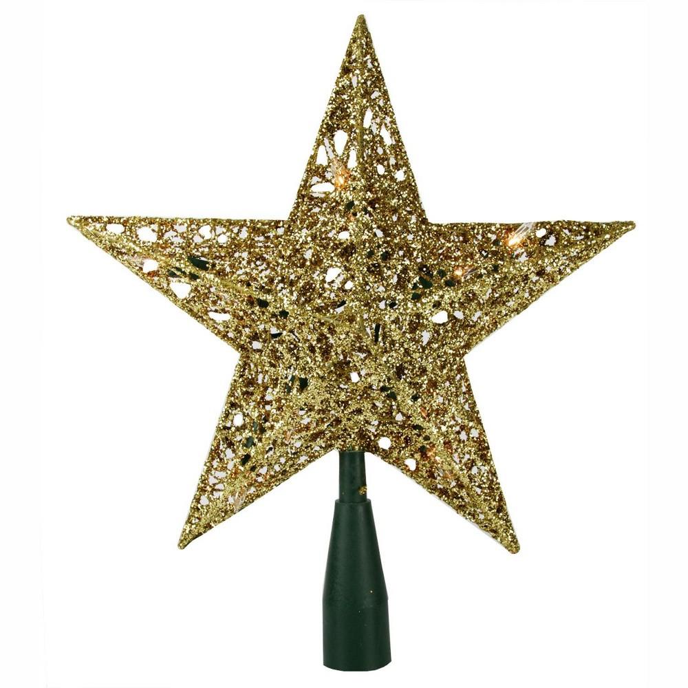 Kurt Adler 10.5 Lighted Sparkling Gold Sequin Star