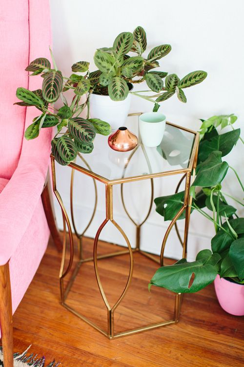 Caroline and Jayden Lee's home on Design*Sponge | brass, glass and plants