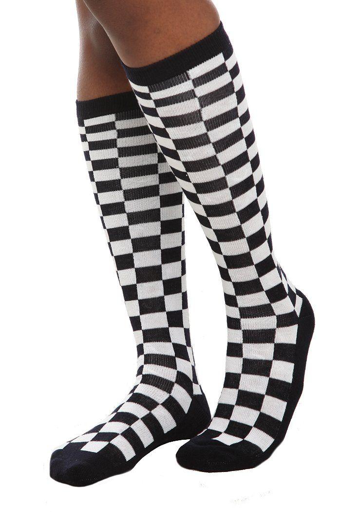 c2c3dec8c Black White Checkered Knee-High Socks